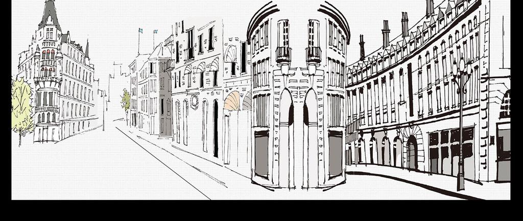 手绘素描城市街景教堂电视背景墙图片