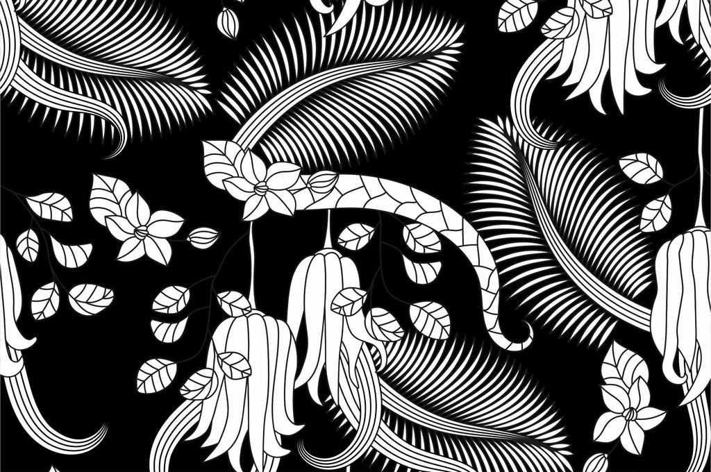 ai)植物花卉图案手绘树叶ai面料花型ai素材服装印花矢量图衬衫裙子