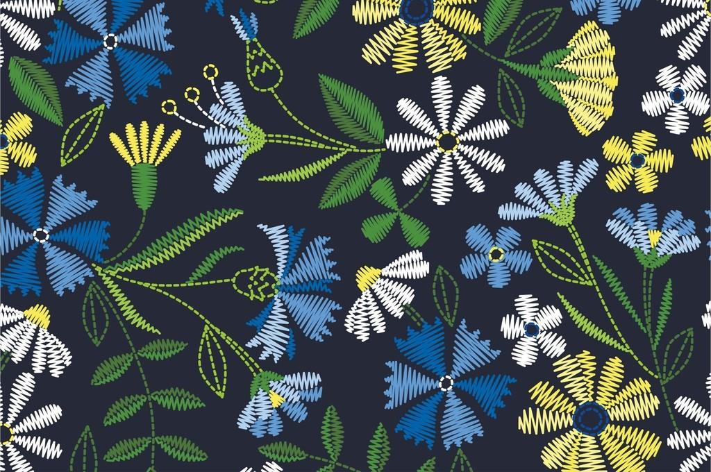 ai)植物花卉图案根茎叶子ai面料花型ai素材清新时装印花衬衫裙子印花