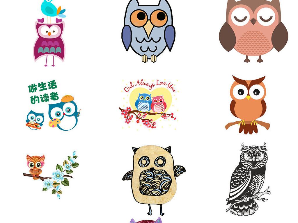 创意卡通猫头鹰卡通猫头鹰插图ps素材1图片