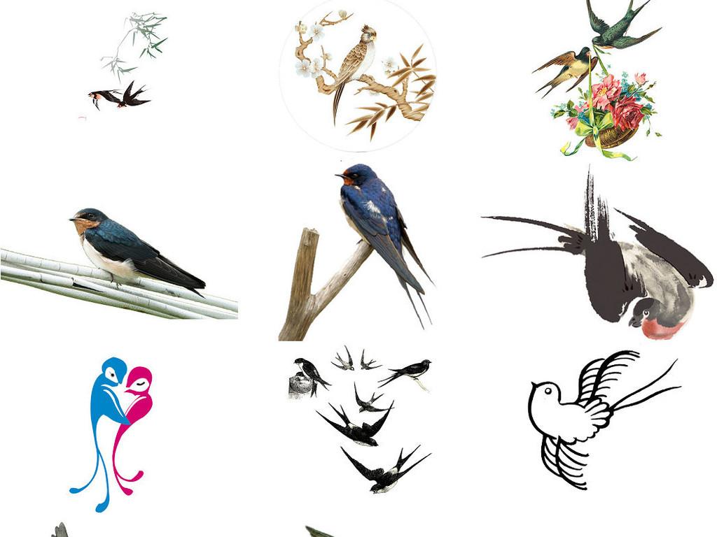 飞行动物燕子免抠素材png系列2