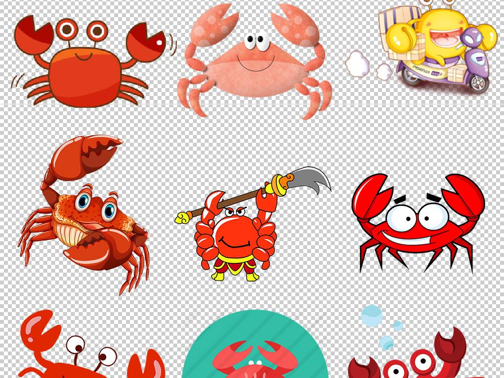 卡通手绘可爱小螃蟹素描卡通素材