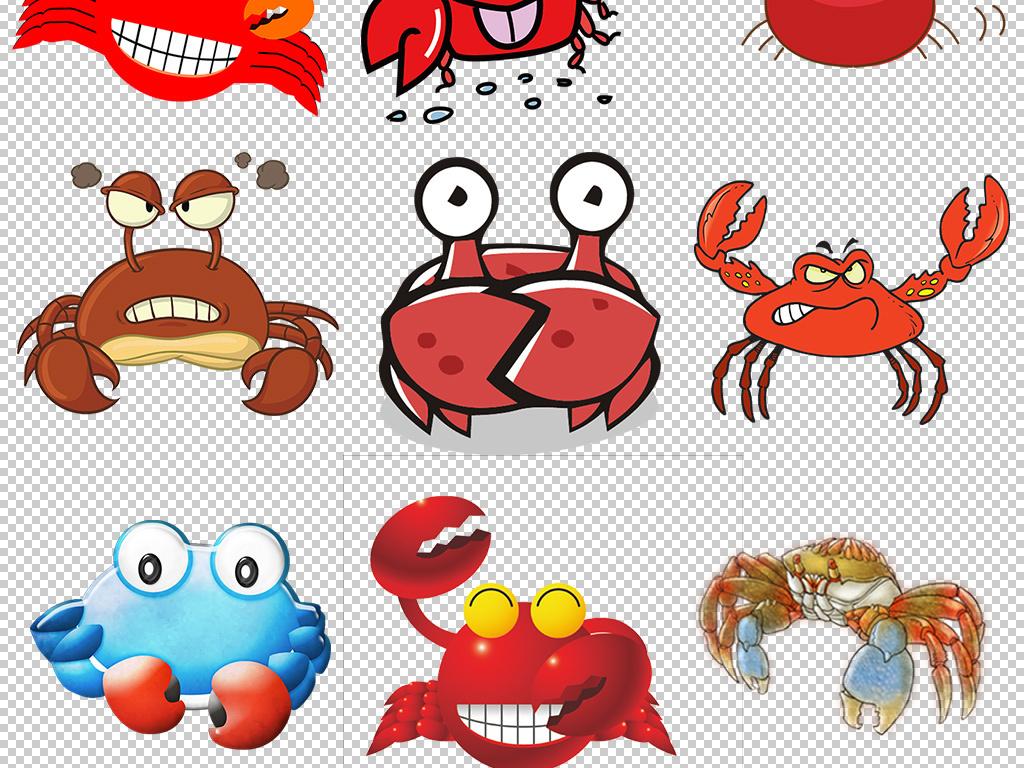 卡通可爱手绘螃蟹图片素材