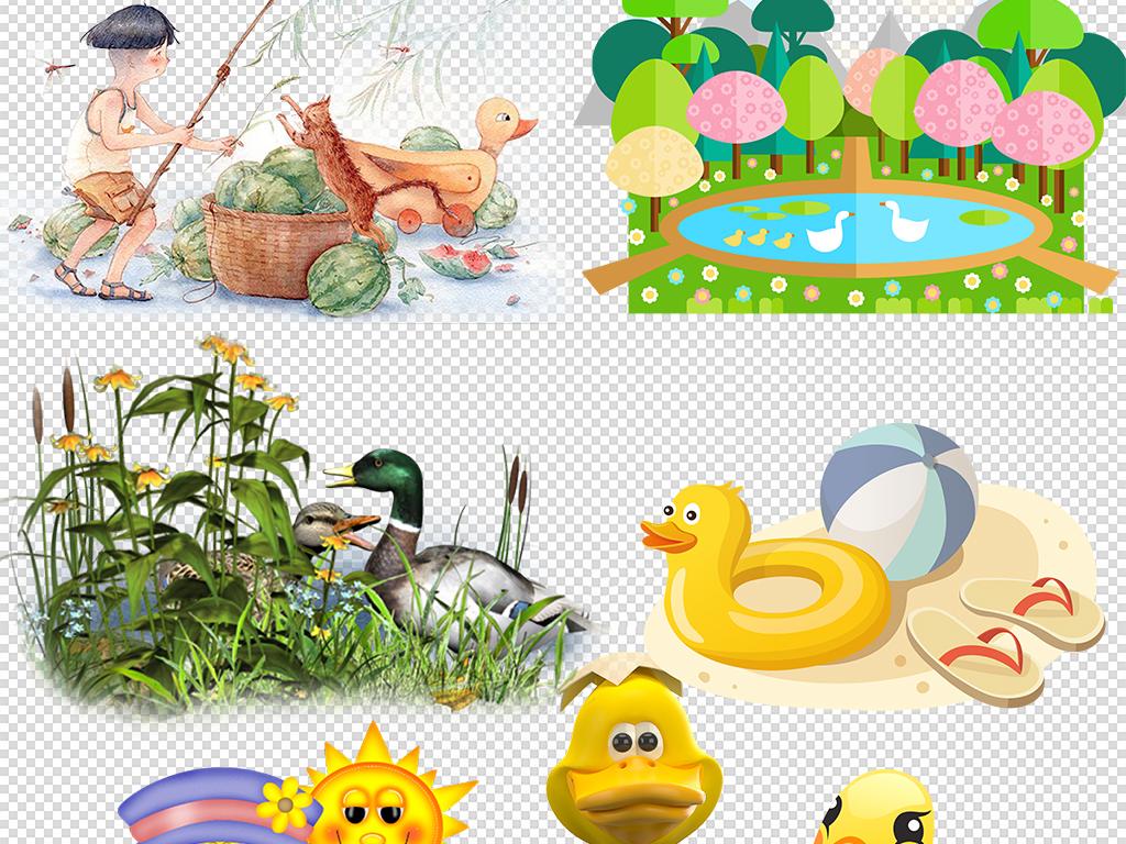 手绘卡通鸭子海报png免扣素材图片下载psd素材-动物