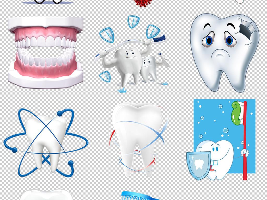 牙齿口腔健康海报卡通牙齿素材