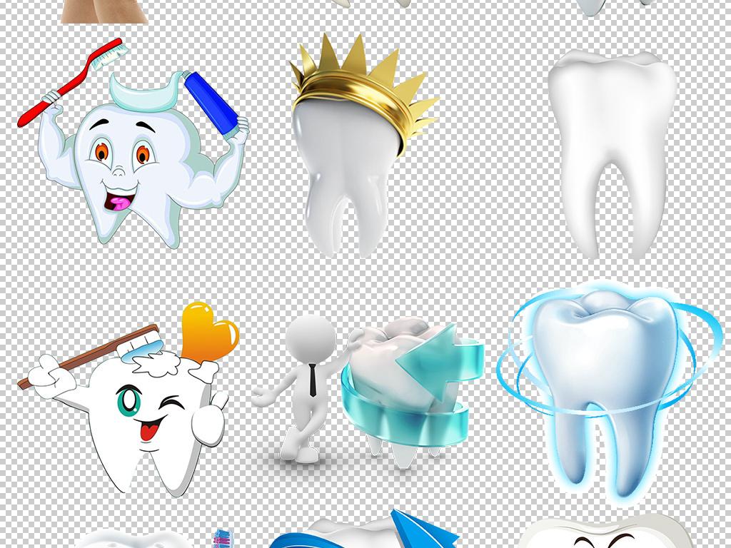 口腔健康牙科疾病美白牙齿卡通牙齿素材