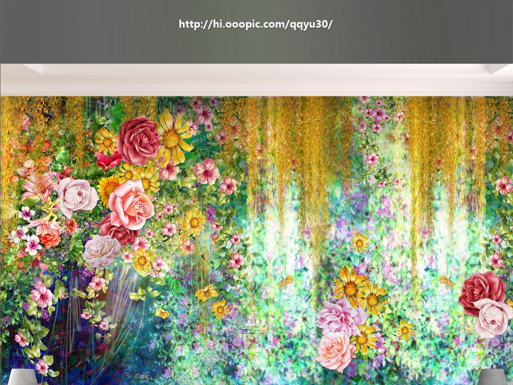 神秘花园手绘背景墙
