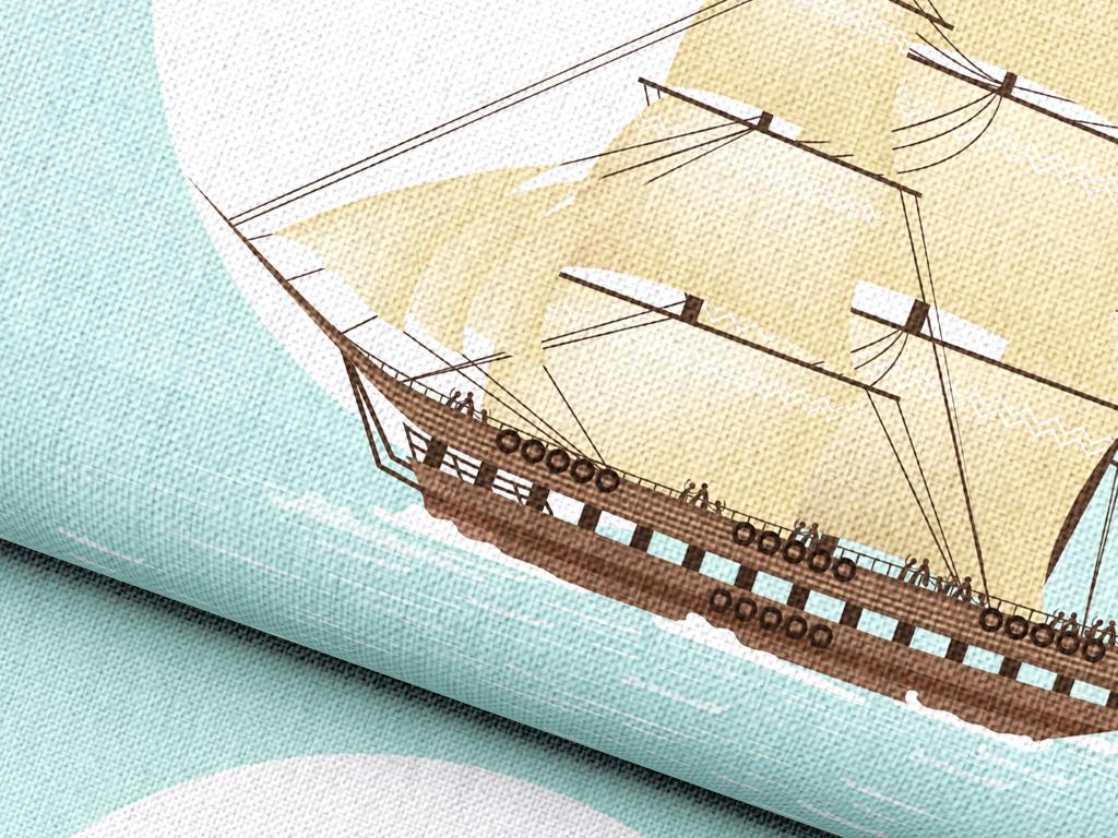 手绘卡通帆船矢量家纺家饰图案抱枕印花