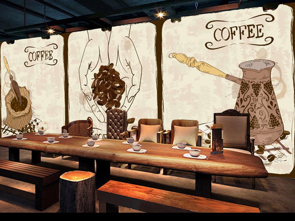 餐厅背景墙壁画手绘