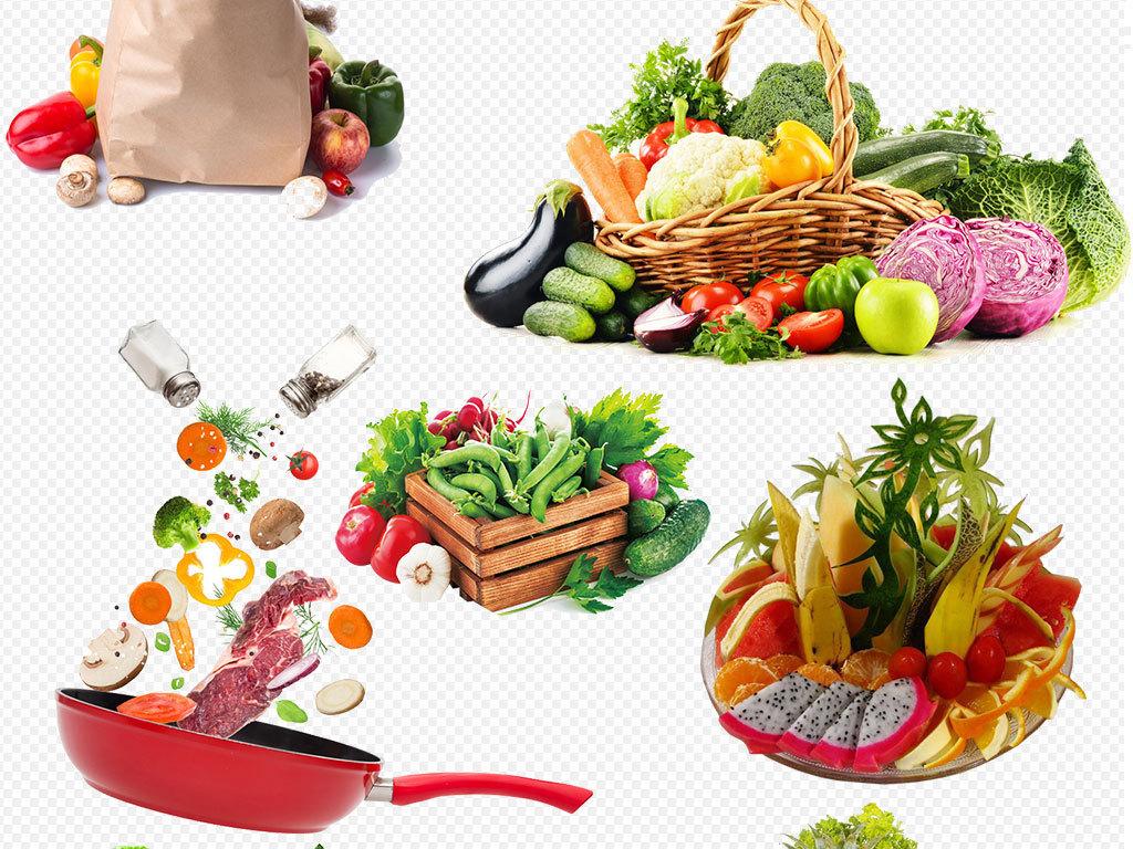 水粉画水果篮-品高清果蔬手绘水果篮蔬菜水果集合素材图片下载png素材 效果素材