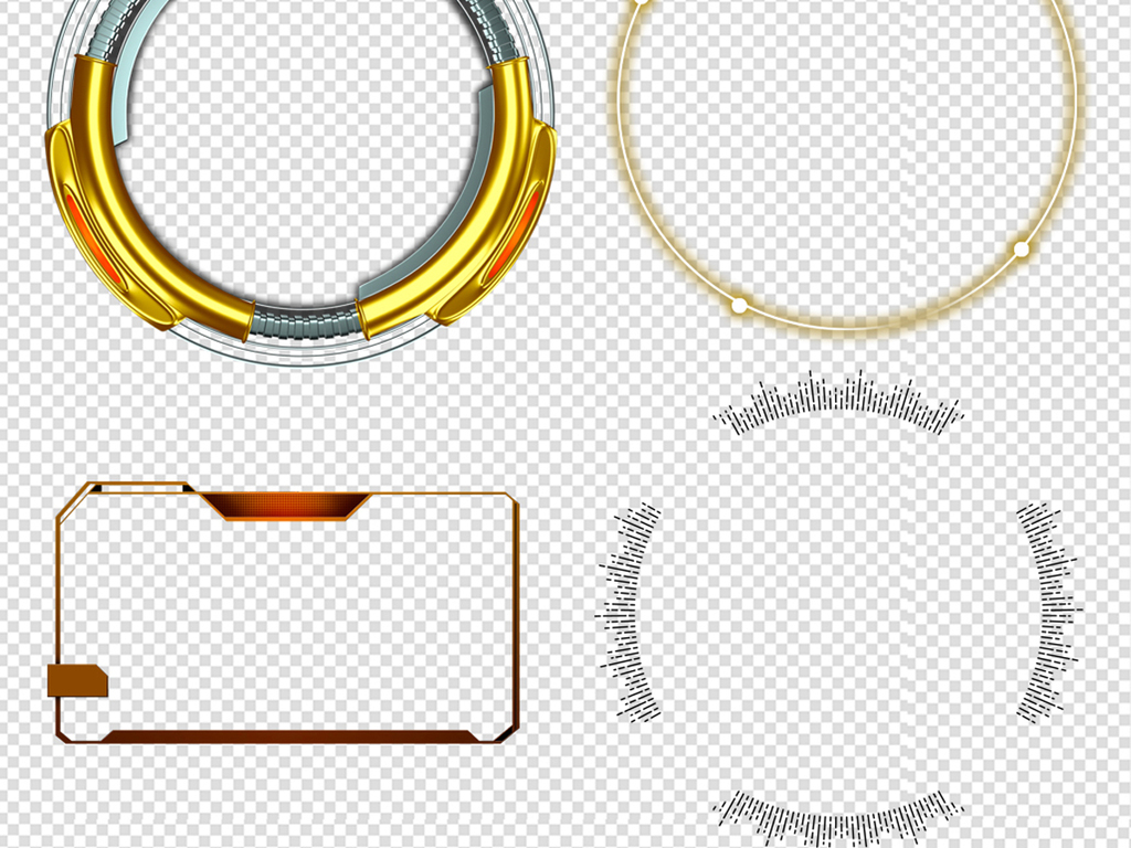 55款科技边框元素png素材图片