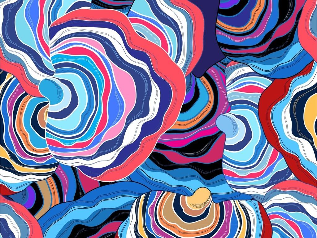 彩绘线条图案面料时尚花型设计布匹家纺印花皮具箱包印花服装印花矢量