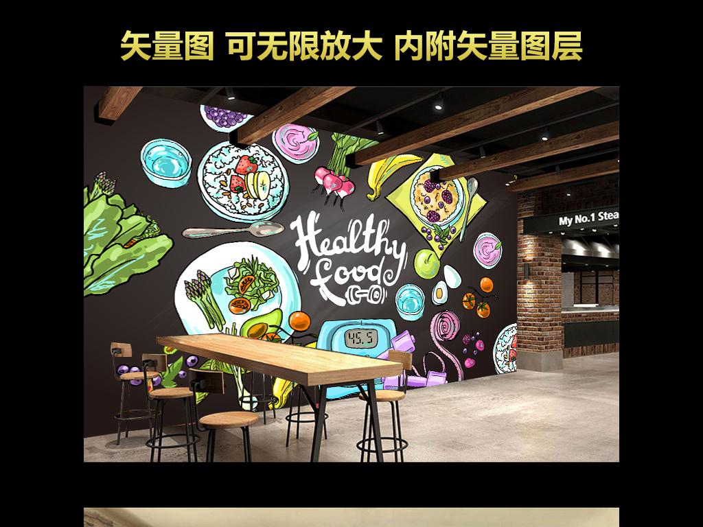 手绘营养餐厅工装背景墙