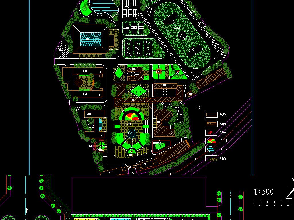 学校景观规划手绘图-学校CAD景观规划图 16634248 园林景观CAD图纸