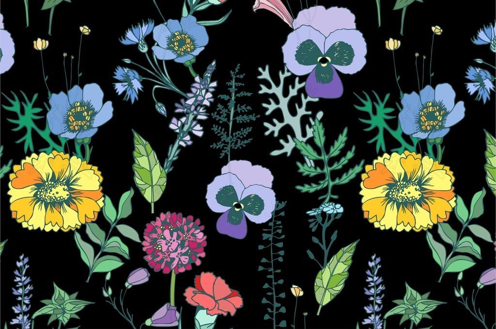 植物花卉花草组合面料花型热带植物印花图案