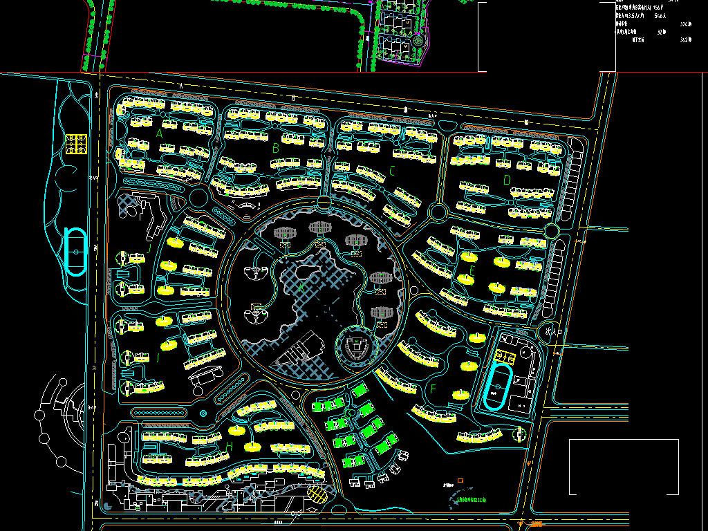 六套小区住宅CAD总平面图