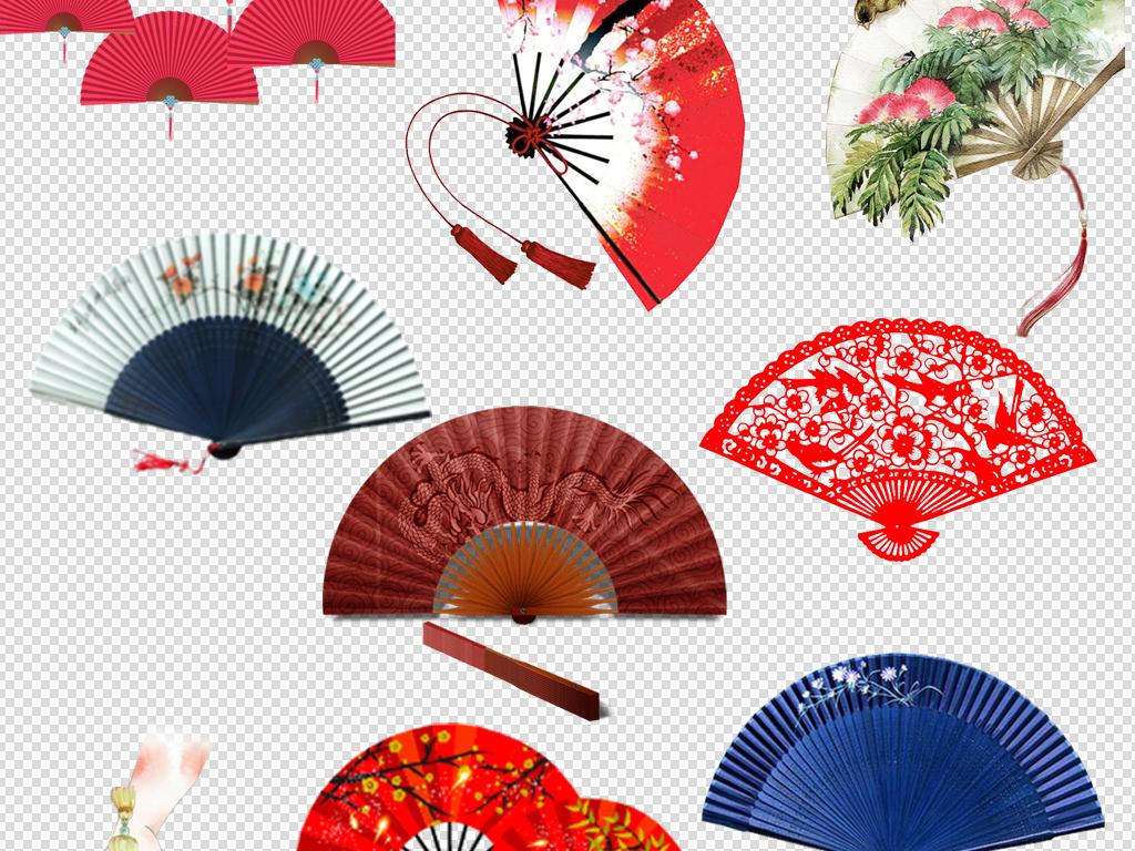50款中国风扇子免扣png海报元素