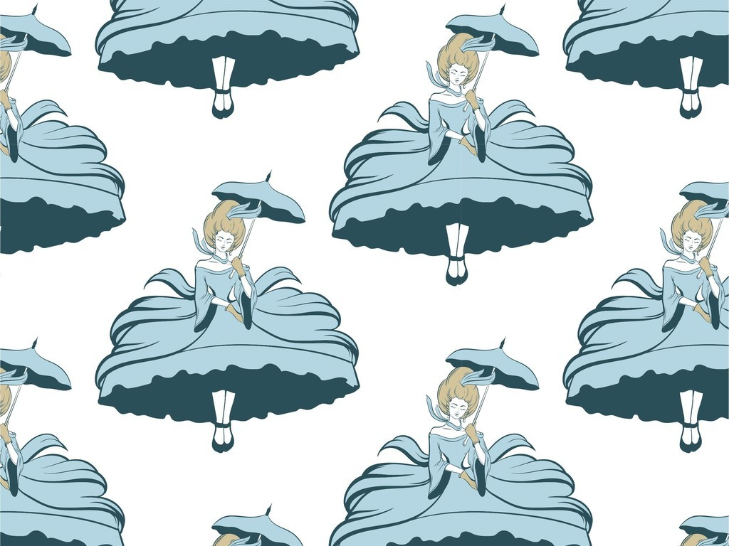 ai)手绘卡通女孩印花图案女装花型