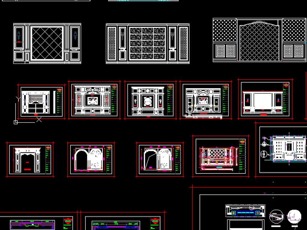 电视机背景墙立面�_cad整木墙板电视机背景墙立面模块98款