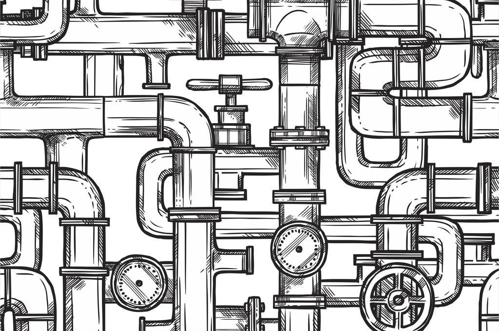 管道手绘循环印花图案