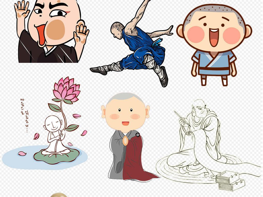 设计元素 人物形象 儿童 > 手绘线描卡通小和尚设计元素  版权图片
