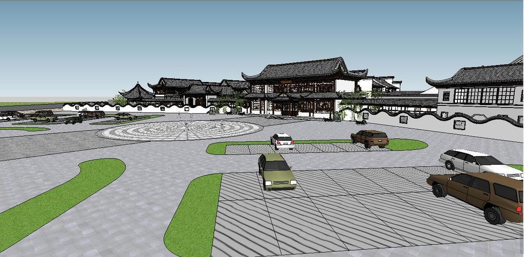 中式超精细古典园林建筑su模型素材