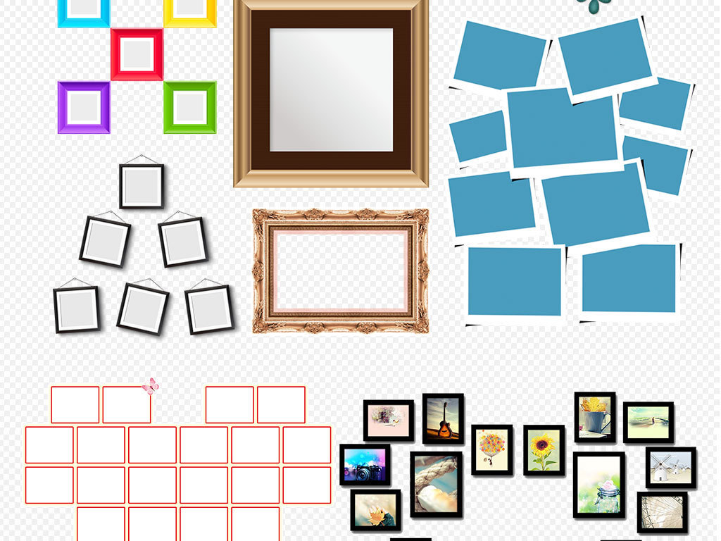 19 我图网提供精品流行心形照片墙拼图图案模版素材下载下载,作品模板图片