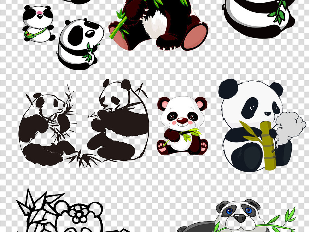 设计元素 自然素材 动物 > 熊猫吃竹子png设计素材