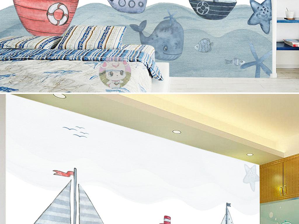 手绘大海小船鱼儿卡通儿童房背景墙
