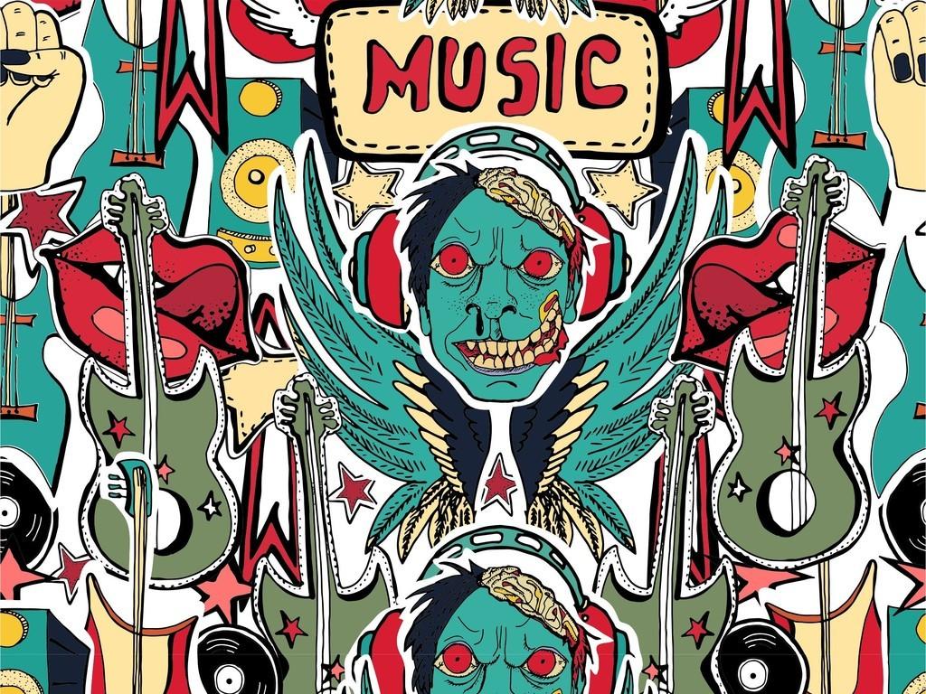 手绘插画音乐主题循环图案