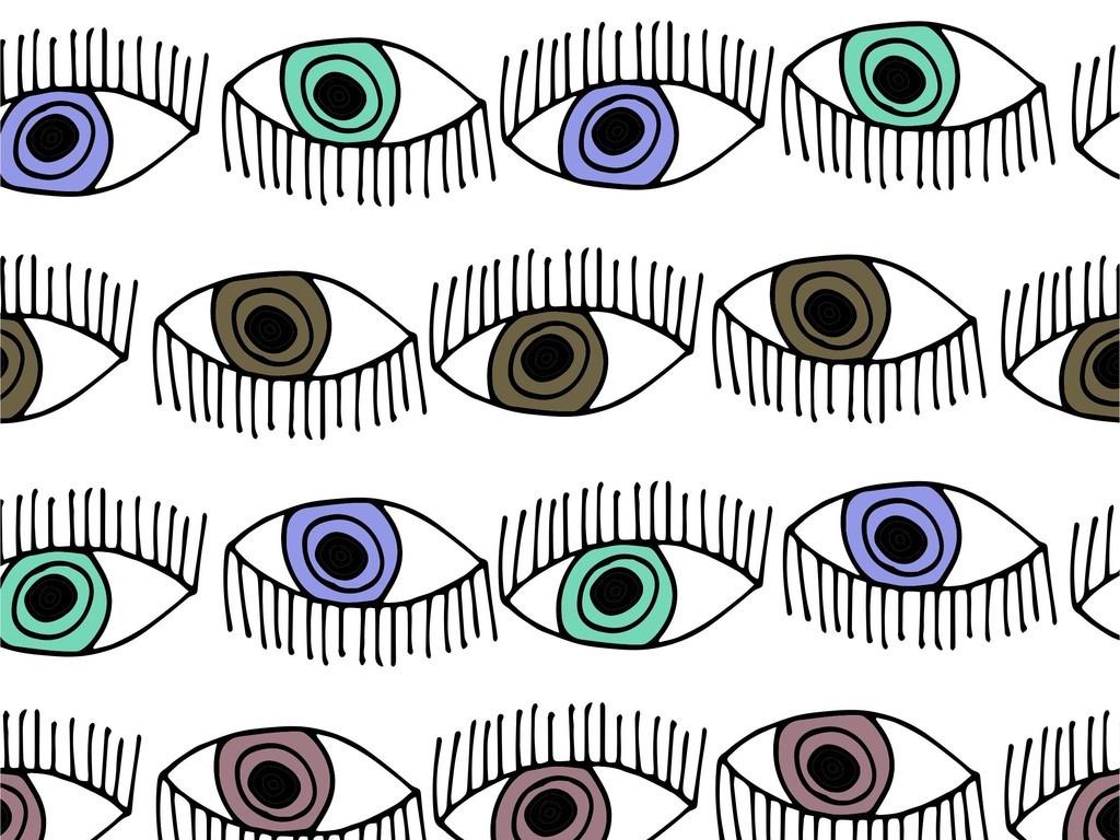 眼睛卡通手绘循环面料印花图案