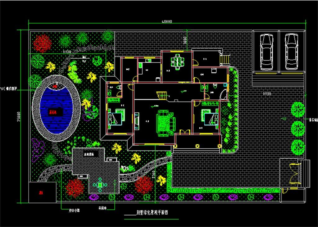 某别墅庭院绿化景观CAD设计图平面图下载 图片0.53MB CAD图纸大