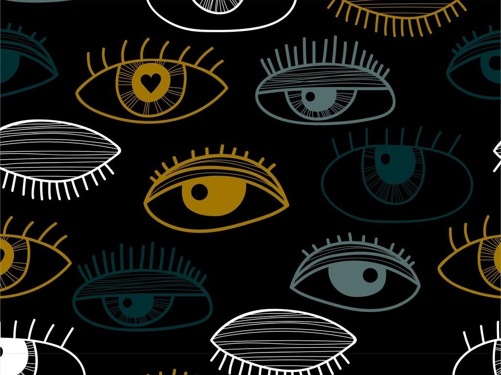 手绘卡通眼睛眼睛印花图案面料花型素材卡通眼睛眼睛卡通手绘眼睛
