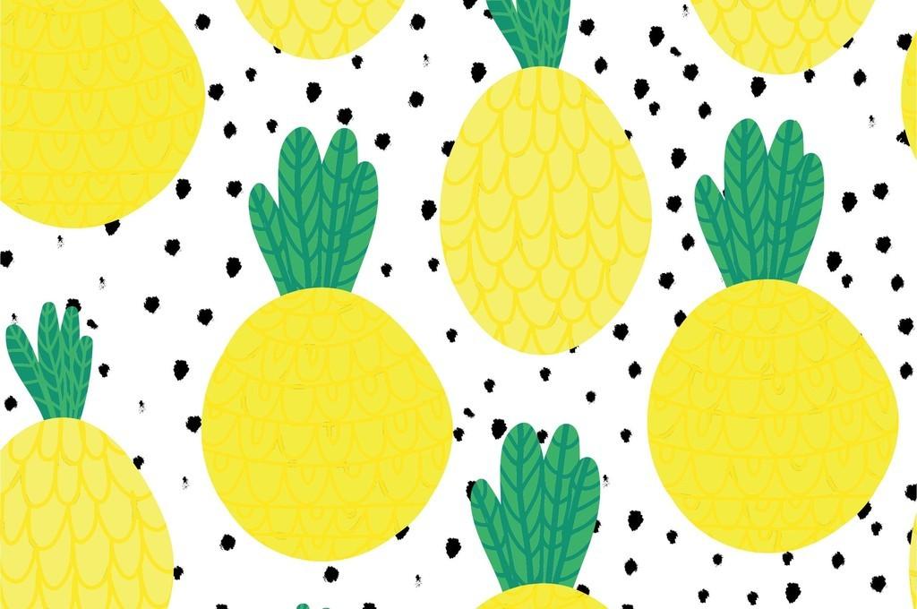卡通橙子小清新水果波点厨房壁纸印花图案