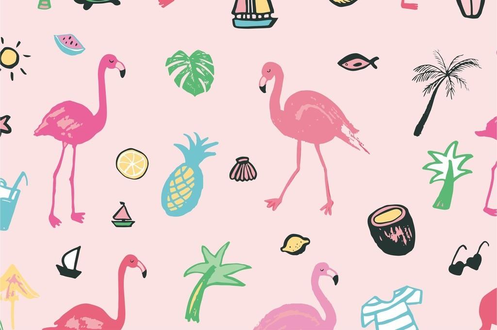 作品模板源文件可以编辑替换,设计作品简介: 火烈鸟卡通动物面料印花
