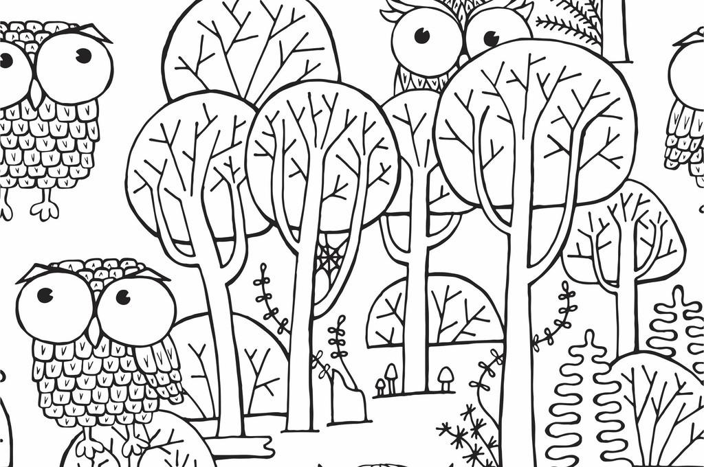 卡通手绘猫头鹰印花图案