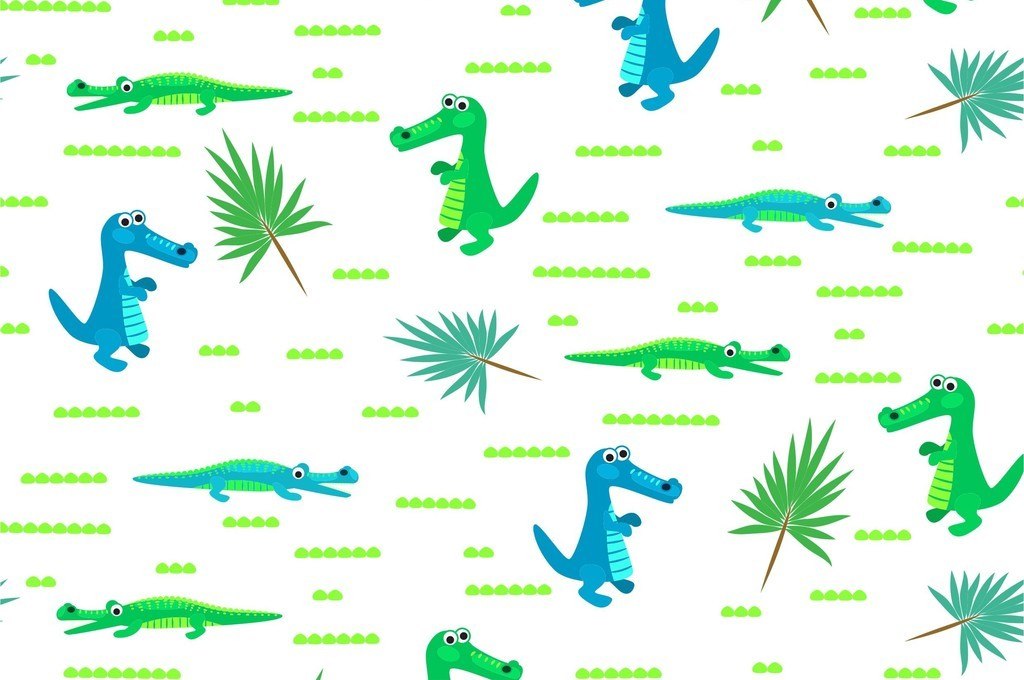 卡通图案卡通恐龙动物植物花卉叶子循环花型