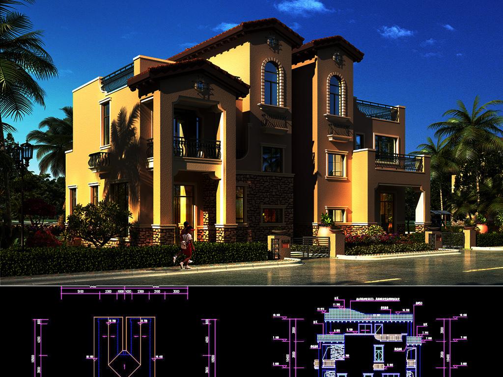 别墅豪宅建筑设计cad图纸