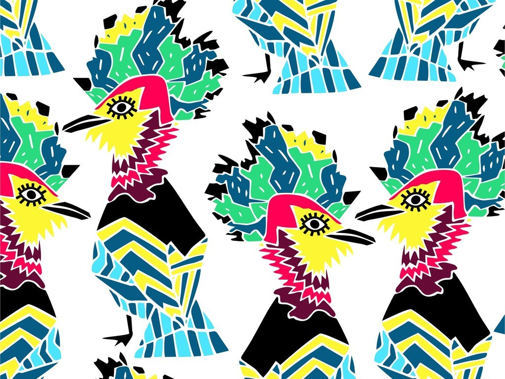 卡通动物鸟抽象图案女装卡通印花