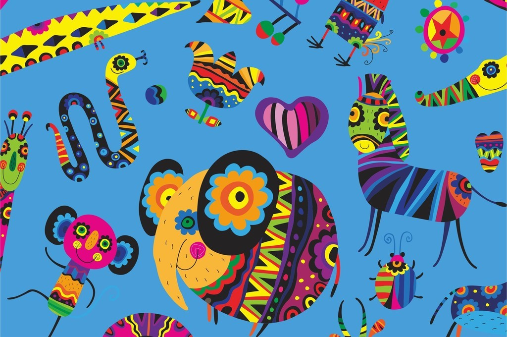 原创卡通动物鸟鹿昆虫抽象图案