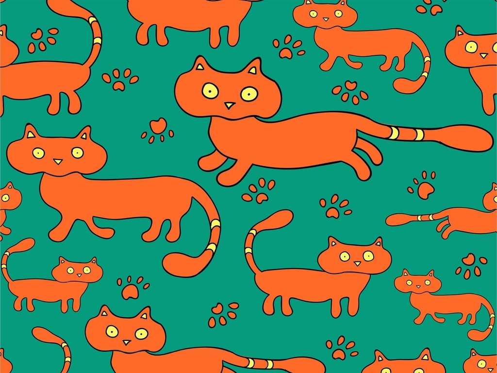 卡通动物猫手绘卡通印花图案小清新面料花型