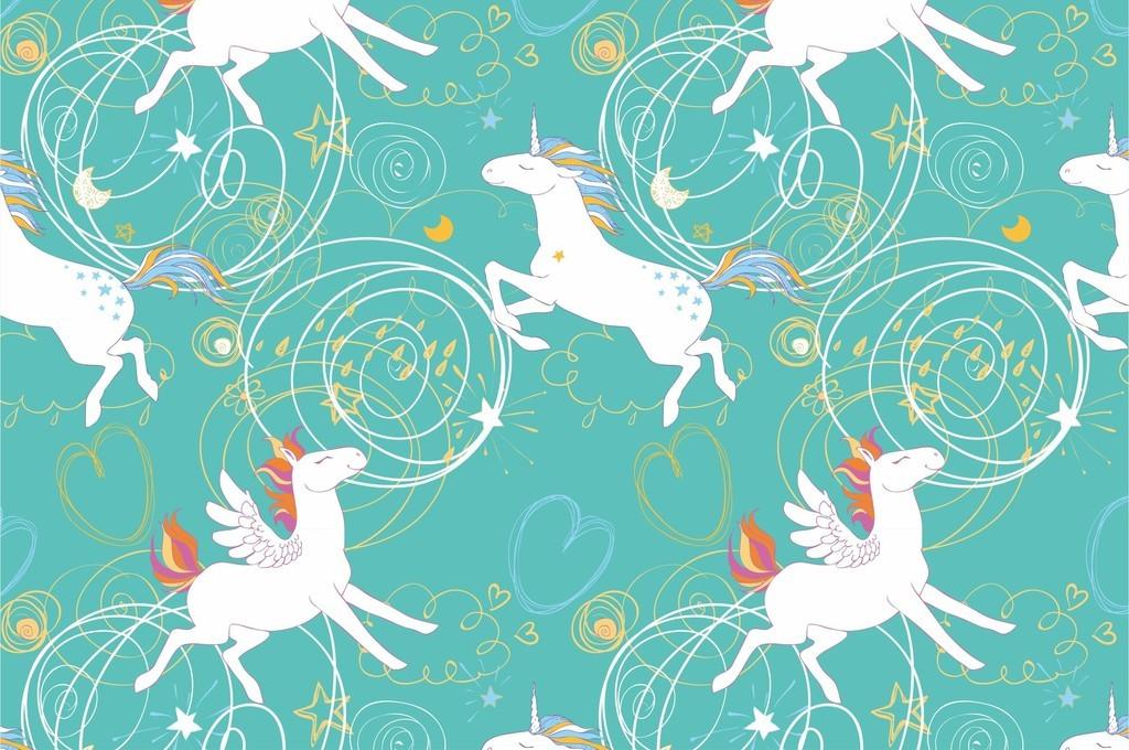 卡通动物几何图爱心图案独角兽抽象面料图案