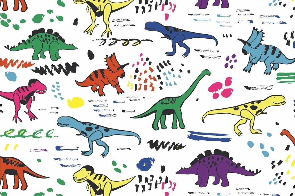 设计作品简介: 卡通动物可爱恐龙抽象图案小清新童装面料图 矢量图, r