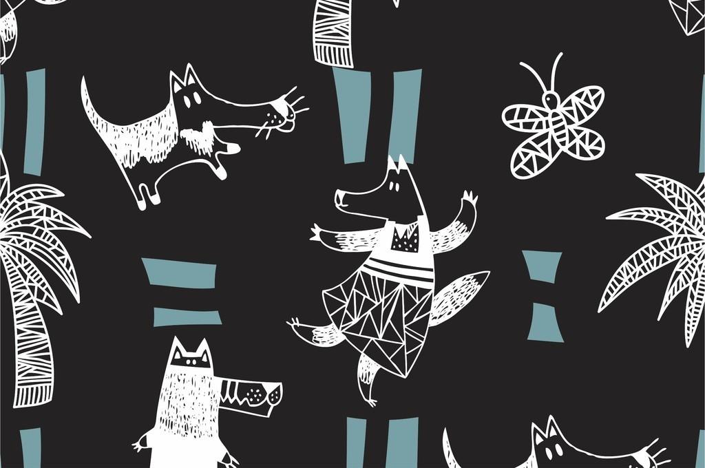 卡通动物狼植物花卉棕榈树几何图形面料花型