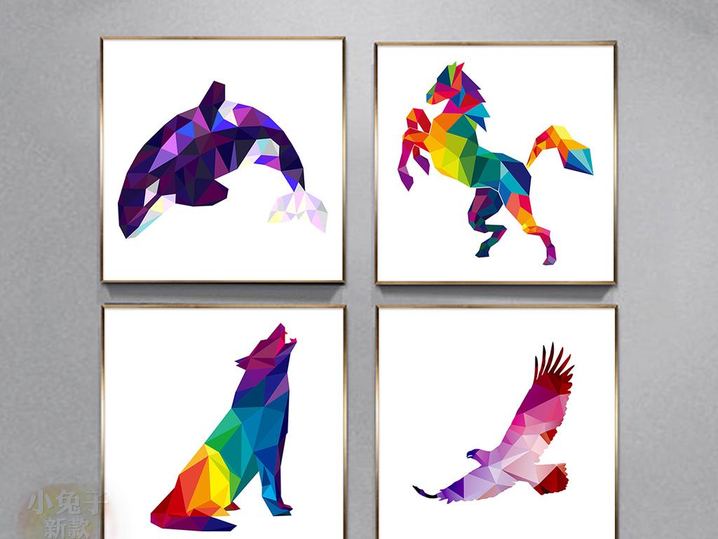 现代时尚简约抽象几何动物装饰画