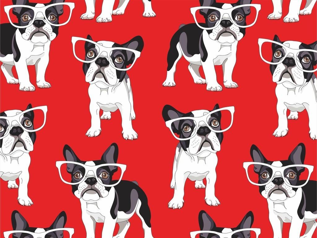 服装设计 面料印花设计 花纹图形设计 > 卡通动物狗满身印花狗屋印花