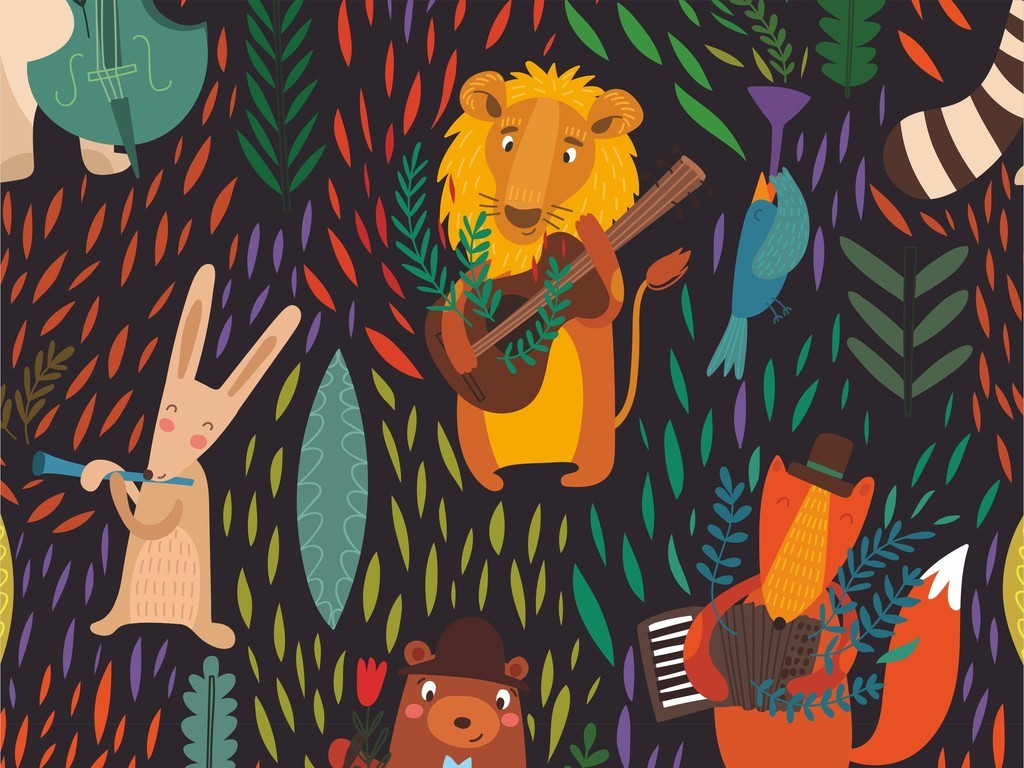 卡通动物猴子兔子植物花卉叶子面料印花图案