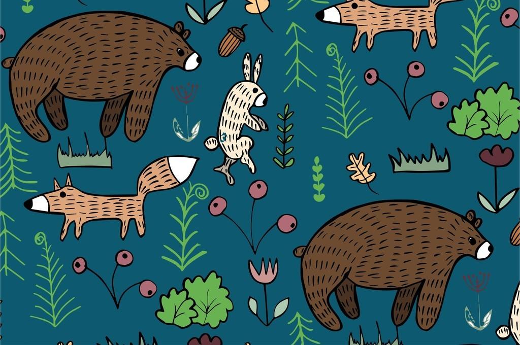 我图网提供精品流行卡通动物狐狸小熊兔子植物花卉花草组合图案素材下载,作品模板源文件可以编辑替换,设计作品简介: 卡通动物狐狸小熊兔子植物花卉花草组合图案 矢量图, RGB格式高清大图,使用软件为 Illustrator CS3(.ai) 童装面料花型