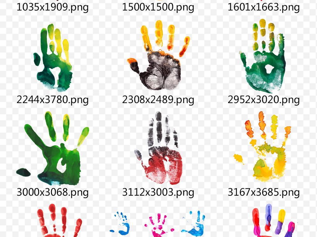 彩色卡通手掌印彩绘特效印记海报素材下载