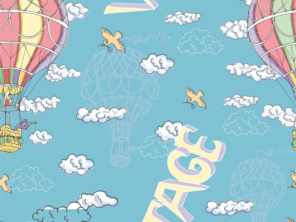 交通运输热气球小清新卡通面料印花图案